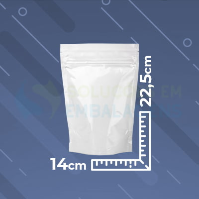 Saco Stand Up Branco 14x22,5 com Zip Lock