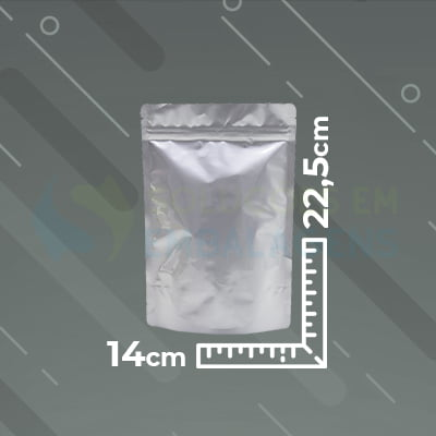 Saco Metalizado Zip Lock 14x22,5 Stand Up Pouch