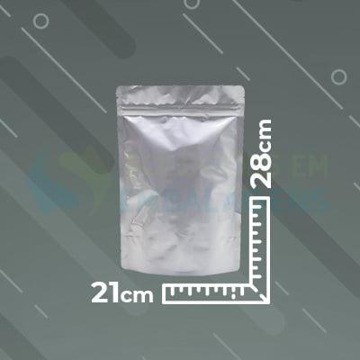 Saco Metalizado Zip Lock 21x28 Stand Up Pouch