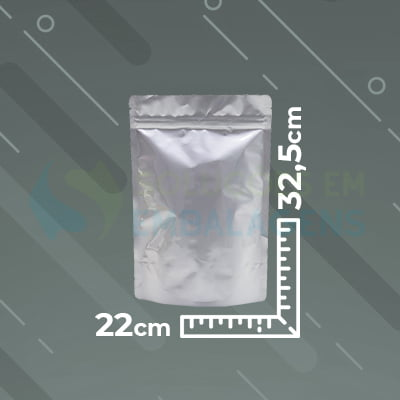 Saco Metalizado Zip Lock  22x32,5 Stand Up Pouch