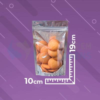 Saco Stand Up 10x19 Metalizado Metade Transparente com Zip Lock