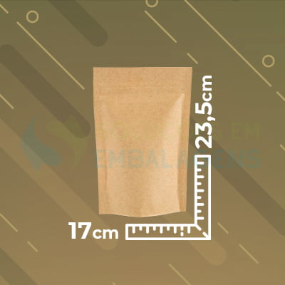 Saco Stand Up Kraft 17x23,5 Com Zip Lock