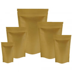 Saco Stand Up Kraft 14 cm x 19,5 cm x 3 cm Com Zip Lock