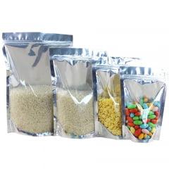 Saco Stand Up 12,5 cm x 19,5 cm x 7 cm Metalizado Metade Transparente Com Zip Lock