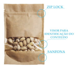 Saco Stand Up Kraft 14 cm x 19 cm x 3 cm Com Janela Zip Lock