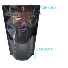 Saco Stand Up Preto 17 cm x 25 cm x 4 cm Com Zip Lock