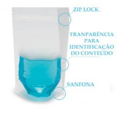 Saco Stand Up Transparente 10 cm x 15 cm x 2,5 cm com Zip Lock