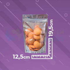 Saco Stand Up 12,5x19,5 Metalizado Metade Transparente Com Zip Lock