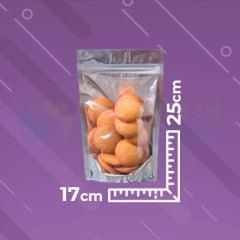 Saco Stand Up 17x25 Metalizado Metade Transparente Com Zip Lock