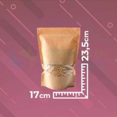 Saco Stand Up Kraft 17 cm x 23,5 cm x 4 cm Com Janela Zip Lock