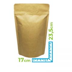 Saco Stand Up Kraft 17 cm x 23,5 cm x 4 cm Com Zip Lock